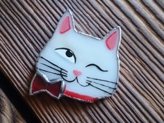 Cute Stained Glass Brooch  Cat lady Glass Art от TheStainedGlassCo