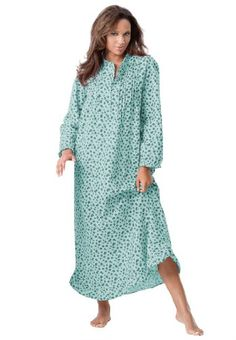 3c01491230 Roamans Plus Size Petite Long Cotton Flannel Print Gown Only Necessities