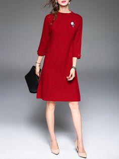 Red Wool 3/4 Sleeve A-line Plain Mini Dress