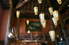 Current image of lobby at Lake McDonald Lodge in Glacier National Park, Montana.