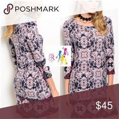 """Navy & Pink Shift Dress Abstract print Shift Dress features rounded Neckline and 3/4 sleeves.   Soft knit blend 96% Polyester, 4% Spandex;  Sizes: S(2:4), M(6/8), L(10/12) Measurements: Small: Chest - 16.5"""", Waist - 15"""", Hips - 16.5"""", Length - 34.5""""                              Medium: Chest - 17"""", Waist - 16"""", Hips - 17.5"""", Length - 35""""                              Large: Chest - 18"""", Waist - 17"""", Hips - 19"""", Length - 36"""" Dresses Mini"""
