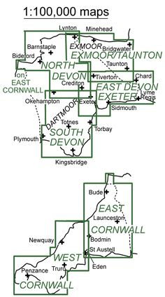 Touring maps of Devon & Cornwall at 1:100,000: Areas Covered