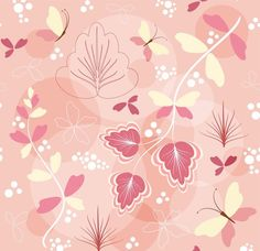 Fond rose avec feuilles et papillons en dessin naïf