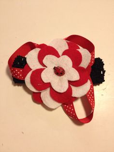 Infant Toddler Girls Ladybug Flower Crochet Headpiece Hairpiece Hairbow Hair Accessories on Etsy, $10.00