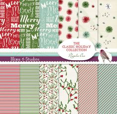 Holiday Wrapping Paper Digital Printable by Blixa6Studios on Etsy