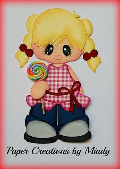 ELITE4U lollipop girl kids red premade paper piecing scrapbooking card page  ~ DT Mindy