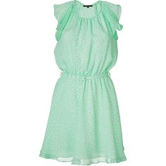 TARA JARMON Mint Green Polka Dot Silk Dress, found on #polyvore. #dresses