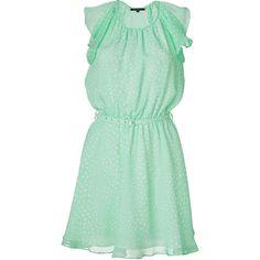 TARA JARMON Mint Green Polka Dot Silk Dress (20,920 INR) ❤ liked on Polyvore featuring dresses, vestidos, vestiti, green, sexy cocktail dresses, mint green cocktail dress, green dress, mint green dress and short cocktail dresses