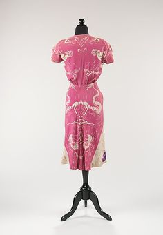 Just lovely: Pink, white and lavender print rayon dress (back) by Bonnie Cashin, American, 1940s Outfits, 1940s Dresses, Vintage Dresses, Nice Dresses, Vintage Outfits, 1940s Fashion, Vintage Fashion, Bonnie Cashin, I Believe In Pink