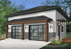 Discover the plan 3997 - Touareg from the Drummond House Plans garage collection. Two-car garage design, modern rustic style, ceiling high. Total living area of 672 sqft. Garage Préfabriqué, 2 Car Garage Plans, Garage Exterior, Garage Door Design, Garage Ideas, Garage Workbench, Garage Signs, Garage Storage, Garage Organization