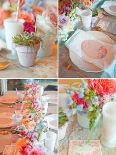 artful watercolor wedding inspiration. garden-grown succulents potted in mini pink terracotta pots, finished with custom washi tape flags.