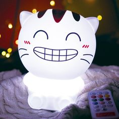 Happy Cartoon Cat USB Rechargeable Colorful Remote Control Night Light