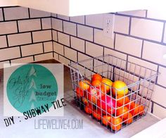 HIGH STYLE :low budget Design  :DIY Subway Tiile from Life We Live 4.com