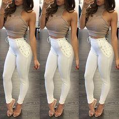 Women Fashion High Waist Eyelet Lace-up Skinny Pants