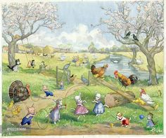'Springtime on the Farm' - farm animals playing games - lambs with skipping rope, chickens and ducks on see-saw, pigs with hoops, kittens on swing, two crows on tree playing cards, etc
