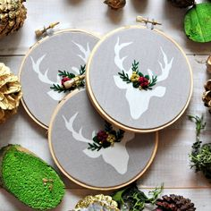 Grey Deer Green and Red Antlers. 4 Inch Embroidery Hoop. Winter Holiday Ornaments. Handmade Christmas Ornament. Embroidery Ornament