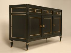 French Style Louis XVI Ebonized Mahogany Buffet by Old Plank Cabinetry for Sale | Old Plank