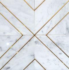 Carrara Brass Inlay Triple Line Floor Patterns, Tile Patterns, Floor Design, Tile Design, Marble Floor, Tile Floor, Floor Texture, Marble Pattern, Wall Tiles