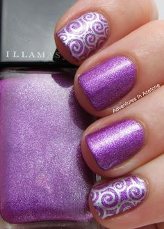 Nail Art - Stamp Cheeky plate CH53, Polish: Pure Ice: Silver Star, Illamasqua: Seance
