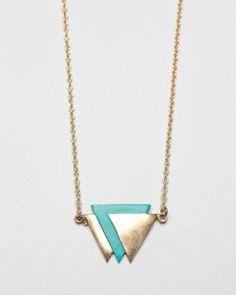 Inverted Triangle Necklace / Garnett Jewelry by zâmbetulsoarelui