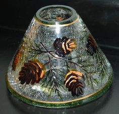 Yankee Candle Jar Shade NEW Crackle Pine Gold - Plate Tray Sold Separately