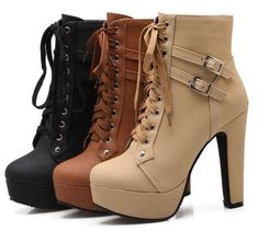 01d119aaf8d01 Susanny Women Autumn Round Toe Lace up Ankle Buckle Chunky High Heel  Platform Knight Martin Boots 3 colors to choose from! PERFECT For the fall  season.