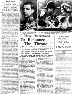 """On 11 Dec 1936 Edward reverted from King to Prince & made a broadcast to the nation explaining his decision to abdicate. He said, """"I have found it impossible to carry the heavy burden of responsibility & to discharge my duties as king as I would wish to do without the help & support of the woman I love."""" After the broadcast Edward left for Austria, he was unable to join Wallis Simpson until her divorce became final. His brother, Prince Albert, Duke of York succeeded to the throne as George…"""