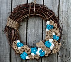 Turqoise Lace and Burlap Rustic Love