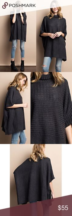 DANNY poncho style sweater top - CHARCOAL Super cozy turtle neck  poncho style sweater with side buttons. Loose fit. Great for layering or wearing alone. Available in charcoal & taupe.  NO TRADE, PRICE FIRM Bellanblue Tops