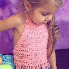 Pink crochet top/ Crochet Toddler Crop Top/ Girl crochet festival top/ Baby crochet top/ Crochet halter top/ Crochet toddler bohemian top by ElenaVorobey on Etsy