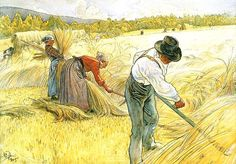 'Harvesting The Rye', Watercolour by Carl Larsson (1853-1919, Sweden)
