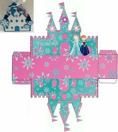 Caja castillo Frozen. Frozen Birthday Party, Frozen Party, Diy And Crafts, Crafts For Kids, Paper Crafts, Printable Box, Tissue Paper Flowers, Party In A Box, Disney Frozen
