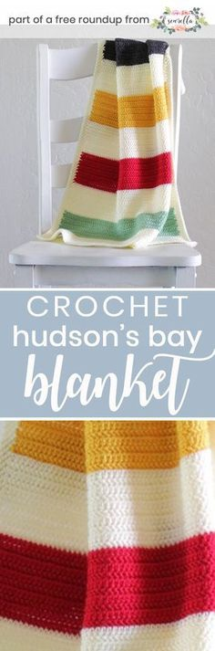 Get the free crochet pattern for this hudson's bay baby blanket from Daisy Farm Crafts featured in my gender neutral baby blanket FREE pattern roundup!