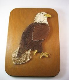 Vintage eagle string art mounted on wood. Perfect for the man cave! Measures 11 x 14 1/2 and about 3/4 thick. Wire is strung between two eye hooks for hanging. Somebody did a great job crafting this piece and even painted the nail heads to coordinate to the color of the string. In