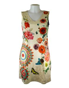 Over 40's Holiday wear- 101 Idees Light Beige Floral Dress, perfect for city breaks.