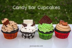 Candy Bar Cupcakes - 4 Ways! Reese's, Black & White, After Eight & Rolo candy inspired cupcake recipes by JavaCupcake.com