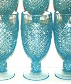 Blue English Hobnail Depression Glass Goblets - Westmoreland Glass Company