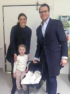 Sweden's Prince Daniel holds his new son Prince Oscar Carl Olof, with wife Crown Princess Victoria and daughter Princess Estelle in Stockholm, March 3, 2016. The new prince, to be known as the Duke of Skane and is third in line to the throne after his mother and elder sister, Princess Estelle.