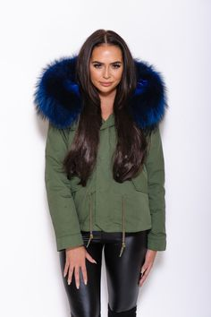 Black Fur Collar Hood Parka Jacket Army Green | Fur collars, Army ...