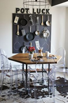 "This post was about how to make that table, but I love the ""Pot Luck"" thing on the wall! - A BEAUTIFUL MESS"