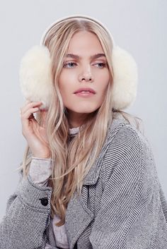 Free People Oversized Earmuff at Free People Clothing Boutique | White fur