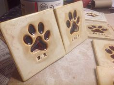 Dog Paw Tile relief stoneware tile by TilesByGavazzi on Etsy
