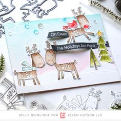 Notable Nest: Holiday Inspirtaion with My Favorite Things and Essentials by Ellen Christmas Settings, Christmas Cards, Christmas Ideas, Cool Birthday Cards, Reindeer Games, Mft Stamps, Oh Deer, Christmas 2019, Clear Stamps