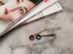 Pink + Blue Stones on Bobby Pin
