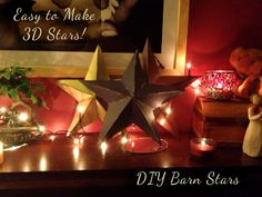 Easy to Make Stars! Can you tell which Stars I made or which I purchased? Barn Stars, as they are seemingly called, are so easy to make! Making these stars are my craft of choice … Primitive Crafts, Primitive Christmas, Christmas Crafts, Christmas Decorations, Primitive Stars, Xmas, Arts And Crafts, Paper Crafts, Diy Crafts