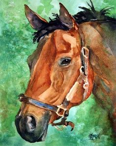 Bay Horse Art Print of Original Watercolor by dogartstudio on Etsy