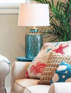 Blue Aqua Nautical Net Table Lamp.... http://www.completely-coastal.com/2016/10/sandy-beige-red-aqua-coastal-living.html