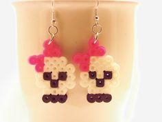 Skull Earrings, Halloween Perler Bead Skull Earrings, Girls Earrings, Halloween Earrings by DesignsBySEA on Etsy