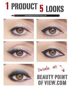 1 basic black eye pencil for 5 looks (smudged eye, smudged cat eye, classic cat eye, egyptian eye, smokey eye)