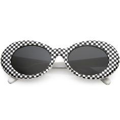 763803574e4 Retro 1990 s Rad Clout Goggle Checkered Colored Lens Oval Sunglasses C488